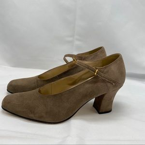 Calico Suede Leather C-Bangle Mary Jane Shoes